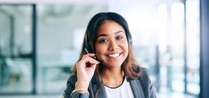smiling female customer rep with headset