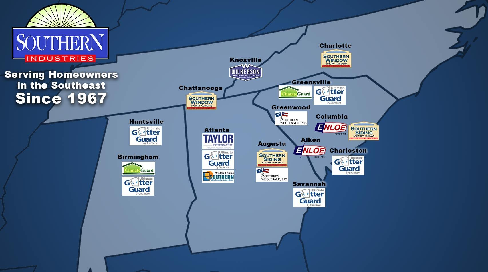 Southern Industries Southeastern Locations Map